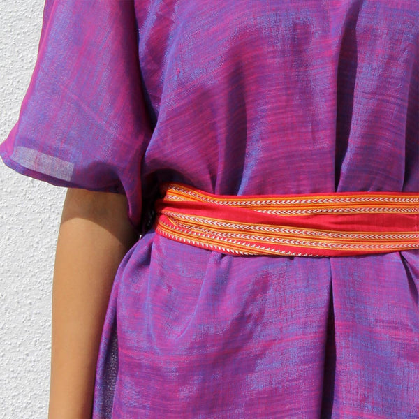 Handwoven Ilkal Cotton Purple Box Dress