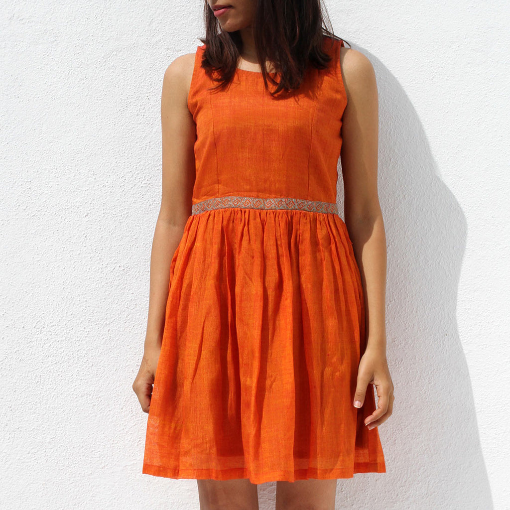Handwoven Ilkal Cotton Orange Short Dress by Dori