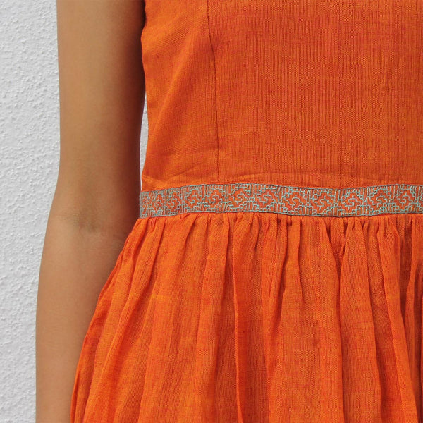Handwoven Ilkal Cotton Orange Short Dress