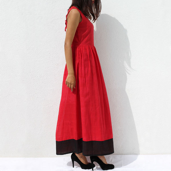 Handwoven Ilkal Cotton Orange Red Maxi Dress