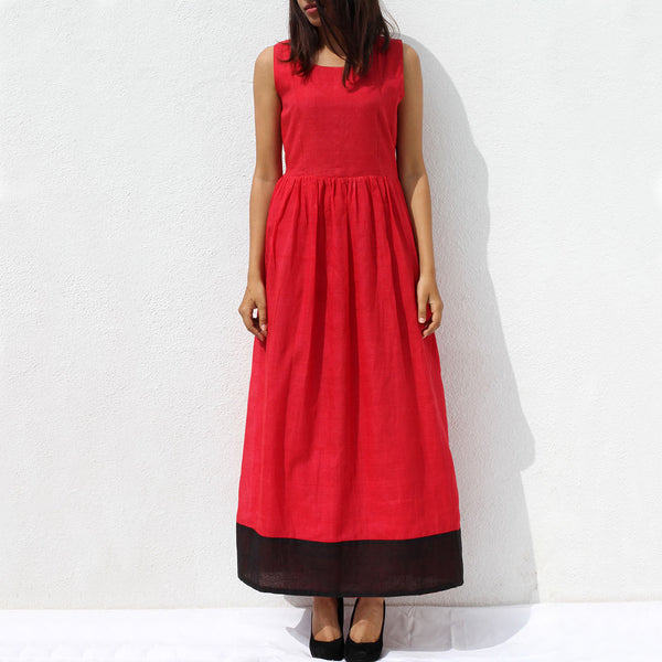 Handwoven Ilkal Cotton Orange Red Maxi Dress by Dori