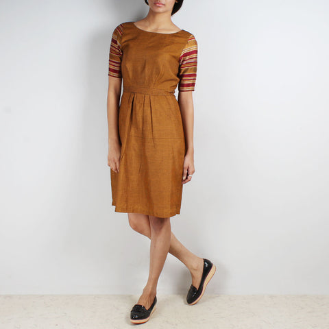 Mustard Dress With Bordered Sleeves by Dori