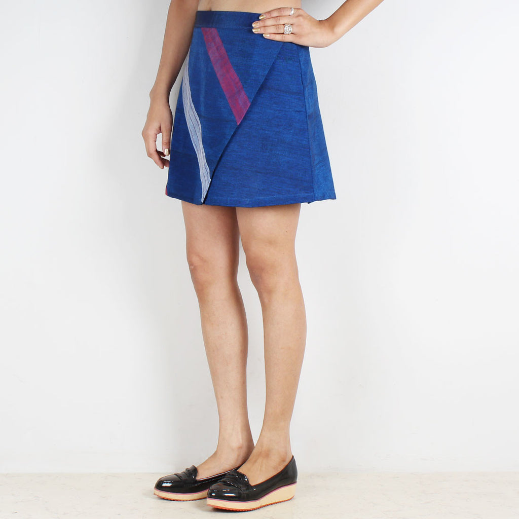 Royal Blue Striped Flap Mini Skirt by Dori