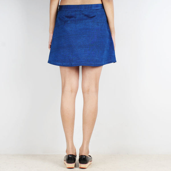 Royal Blue Striped Flap Mini Skirt