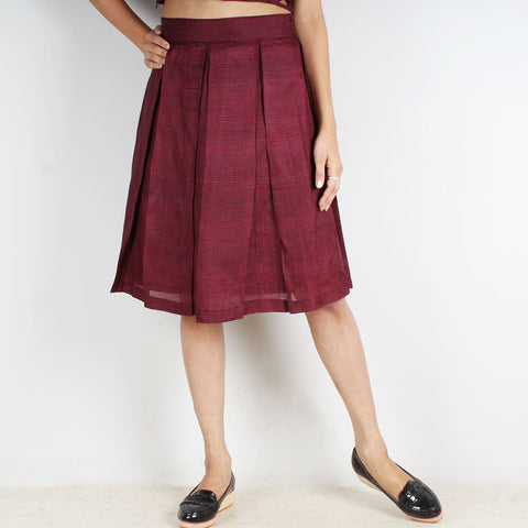 Pink Checkered Pleated Skirt by Dori