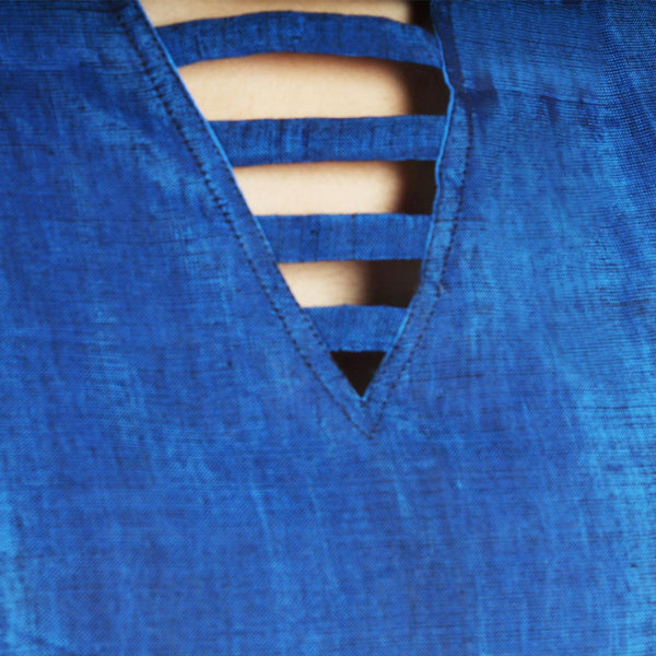 Blue Crop Top With Back Drape