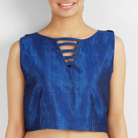 Blue Crop Top With Back Drape by Dori