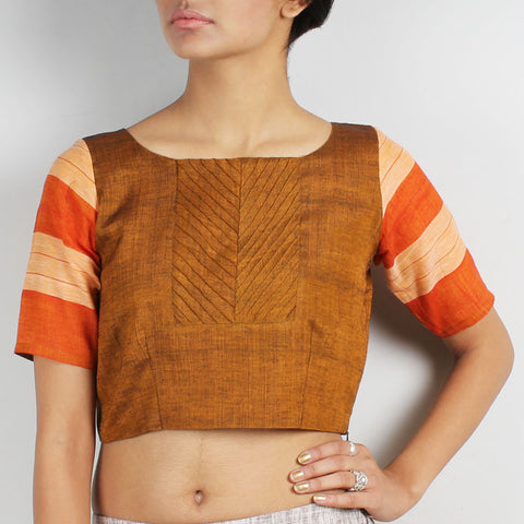 Mustard Crop Top With Contrast Striped Sleeves by Dori