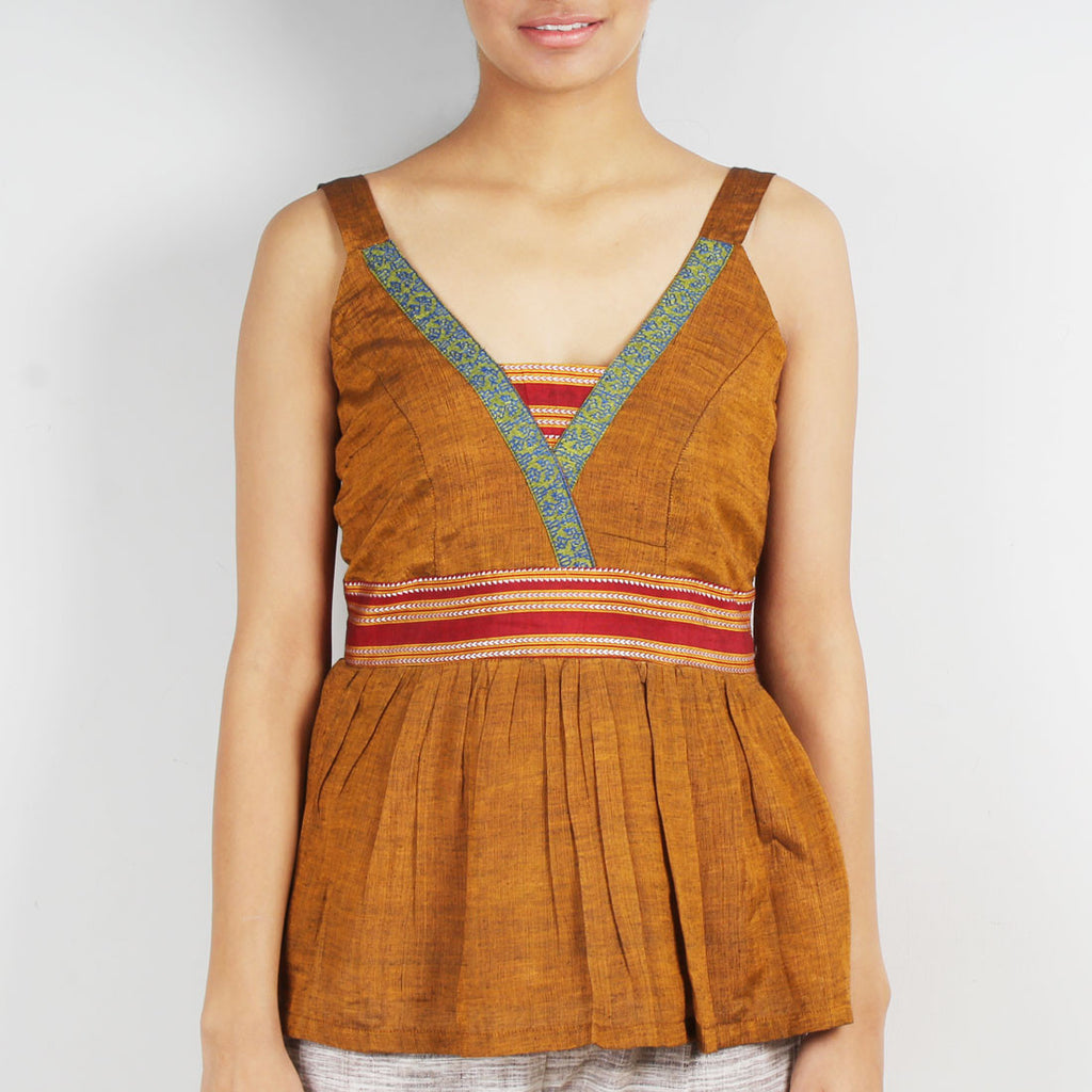 Mustard Gathered Strap Top by Dori