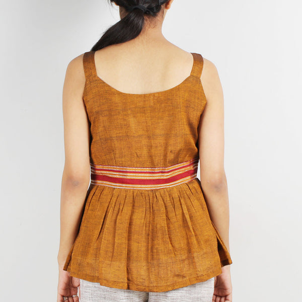 Mustard Gathered Strap Top