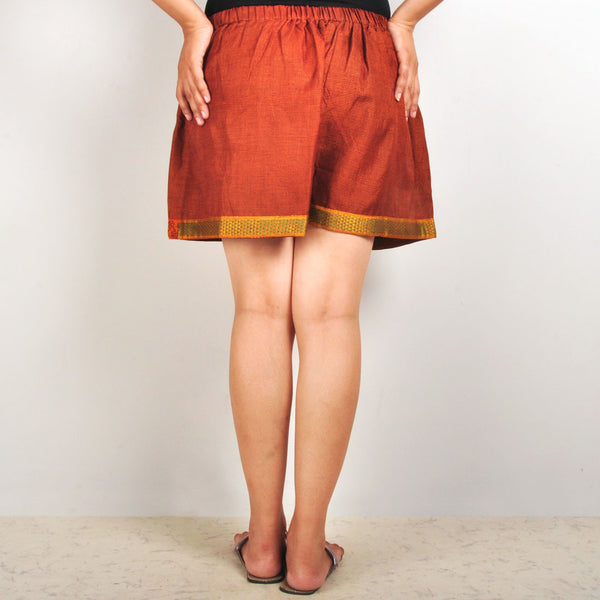 Gathered embroidered shorts