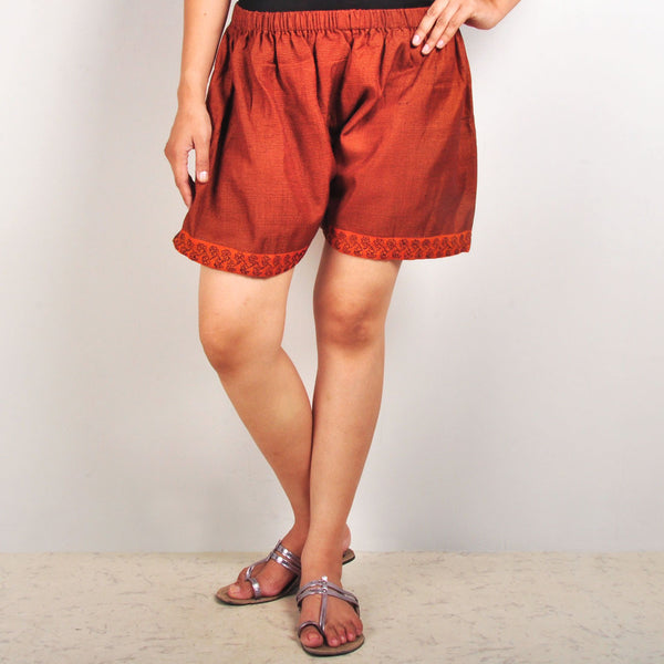 Gathered embroidered shorts by Dori