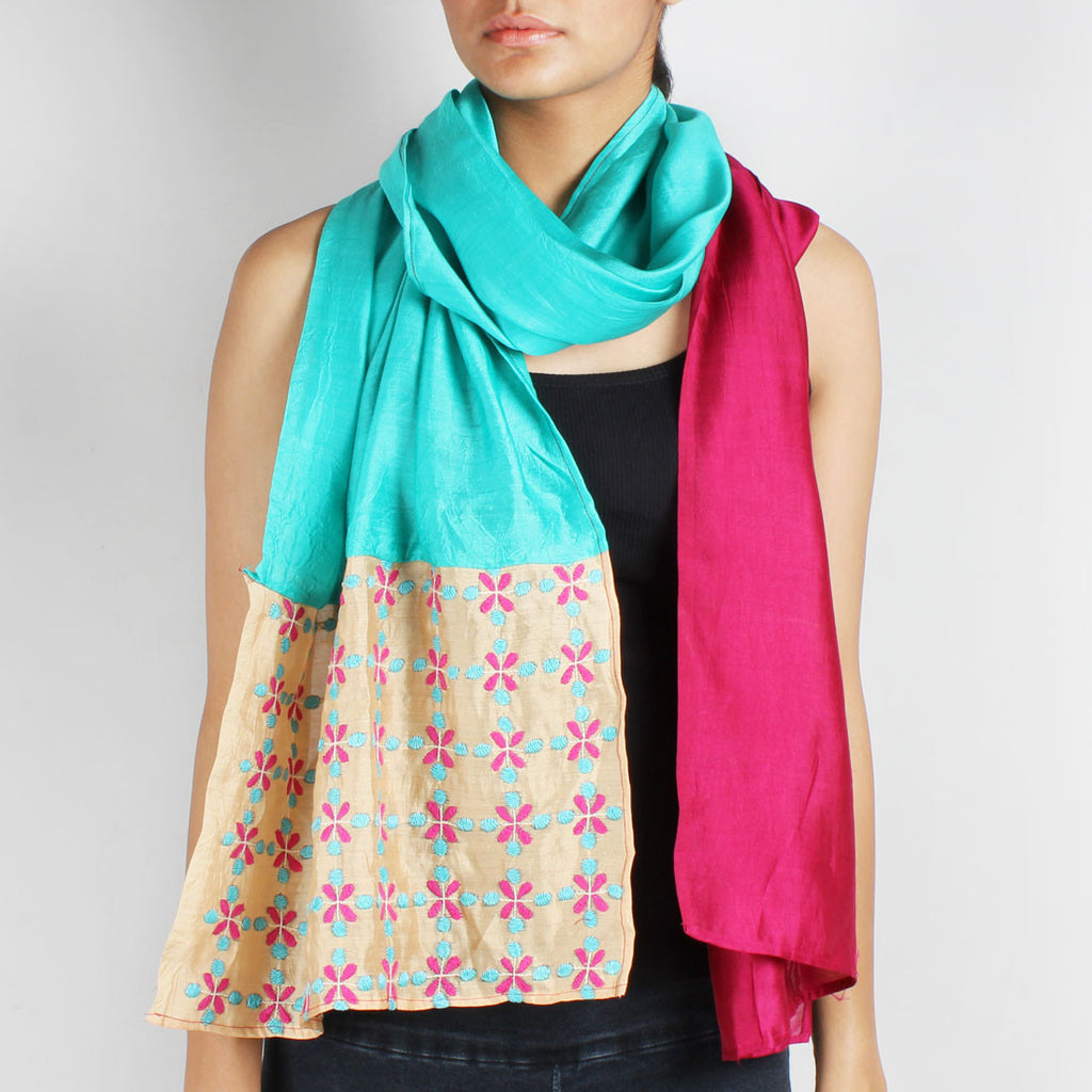 Pink & Sky Blue Color Block Embroidered Stole by Desi Polka