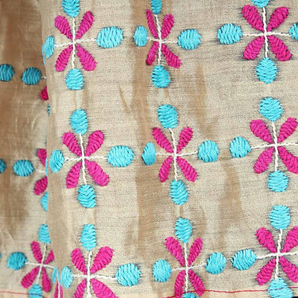 Pink & Sky Blue Color Block Embroidered Stole