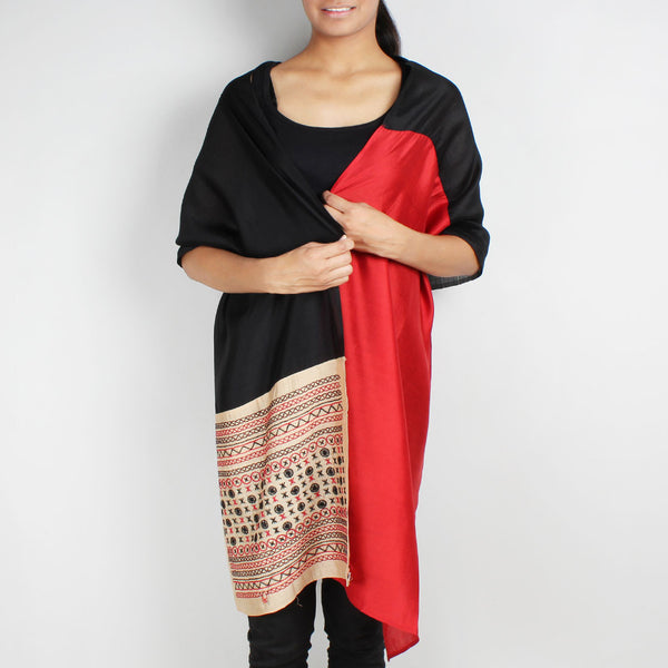 Red & Black Color Block Embroidered Stole