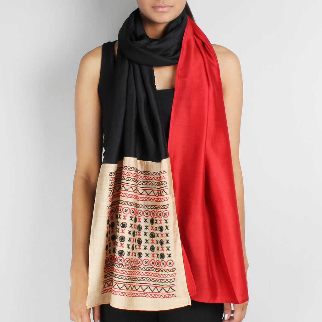 Red & Black Color Block Embroidered Stole by Desi Polka