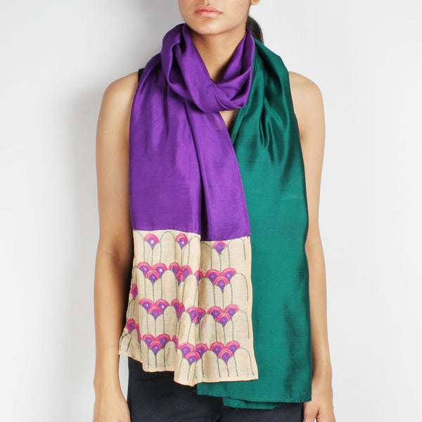Dark Green & Purple Color Block Embroidered Silk Stole