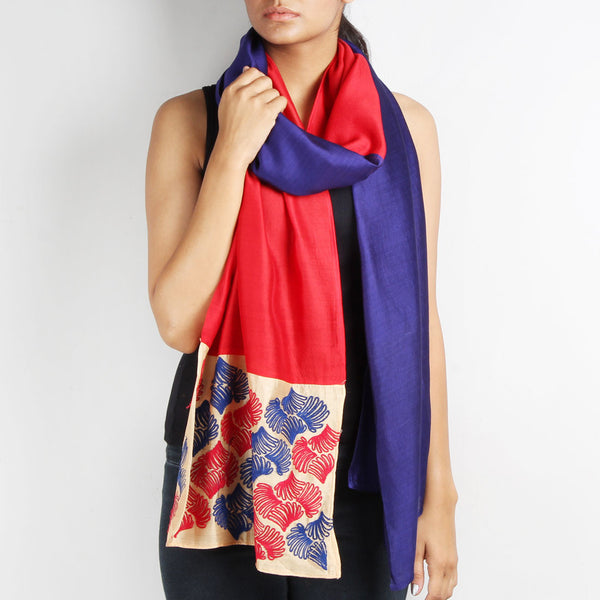Navy Blue & Red Color Block Embroidered Stole by Desi Polka