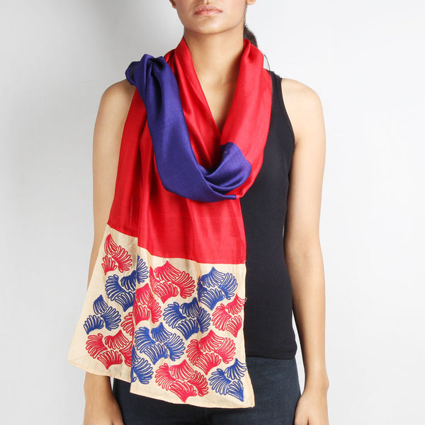 Navy Blue & Red Color Block Embroidered Stole