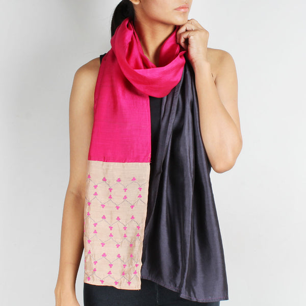 Pink & Grey Color Block Embroidered Stole by Desi Polka