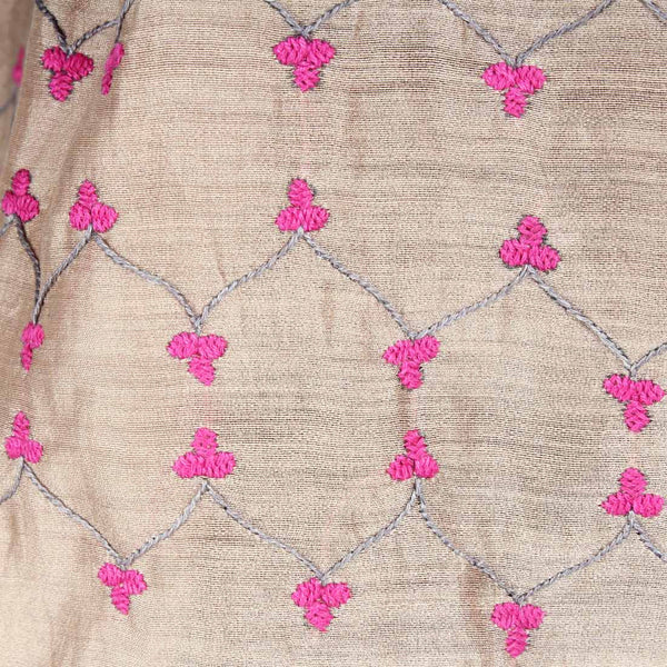 Pink & Grey Color Block Embroidered Stole