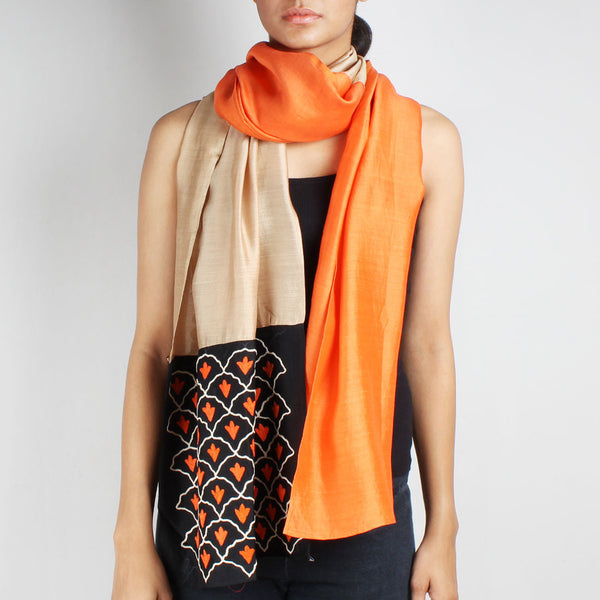 Orange & Beige Color Block Embroidered Stole by Desi Polka