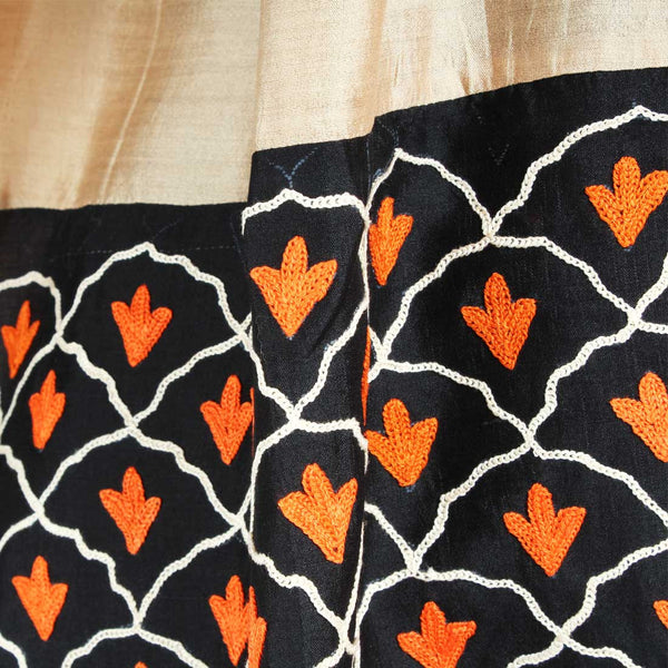 Orange & Beige Color Block Embroidered Stole