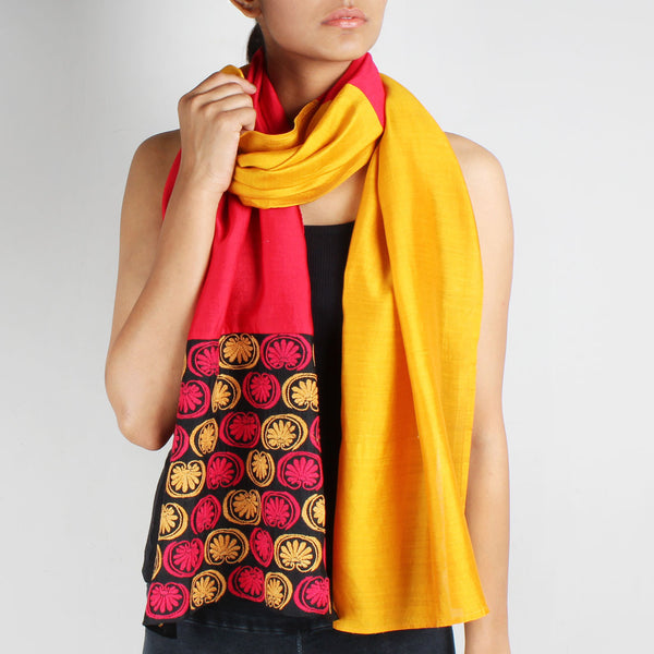 Red & Mustard Color Block Embroidered Stole