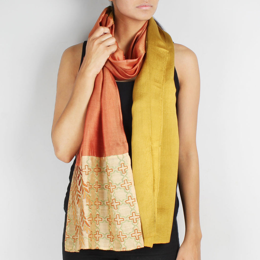 Shades Of Brown Color Block Embroidered Stole by Desi Polka