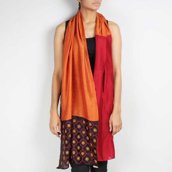 Maroon& Rust Color Block Embroidered Stole