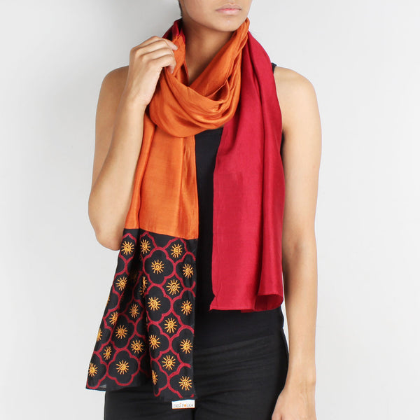 Maroon& Rust Color Block Embroidered Stole by Desi Polka
