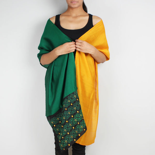 Green & Mustard Color Block Embroidered Silk Stole by Desi Polka
