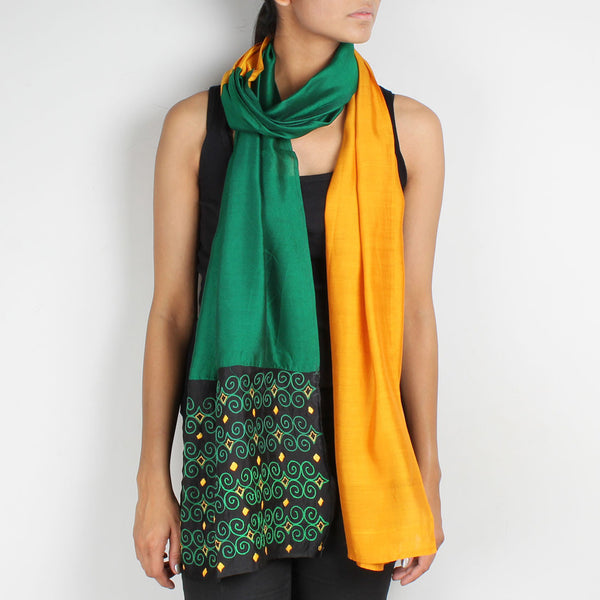 Green & Mustard Color Block Embroidered Silk Stole