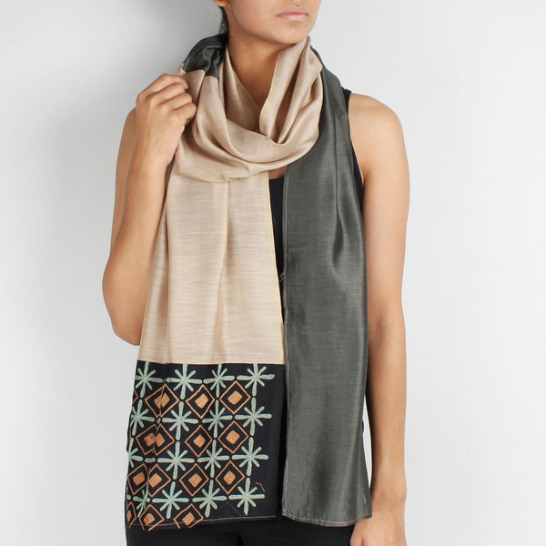Beige & Gray Color Block Embroidered Stole