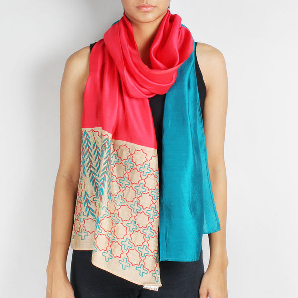 Red & Rama Green Color Block Embroidered Silk Stole