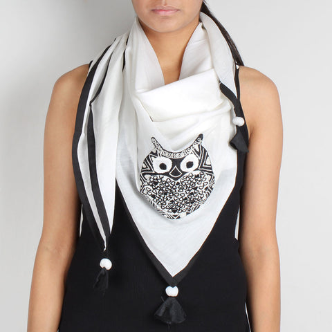 White Owl Embroidered Cotton Silk Scarf by Desi Polka