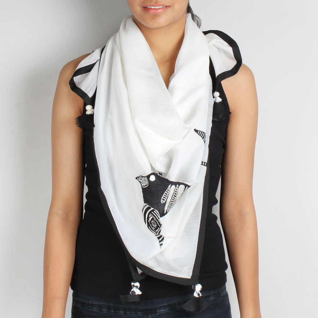 White Birdie Embroidered Cotton Silk Scarf by Desi Polka