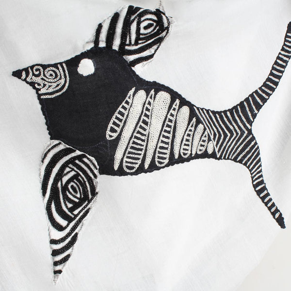 White Birdie Embroidered Cotton Silk Scarf