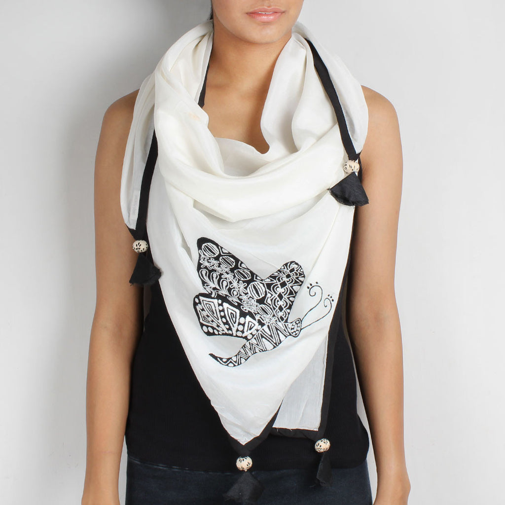 White Butterfly Embroidered Cotton Silk Scarf by Desi Polka