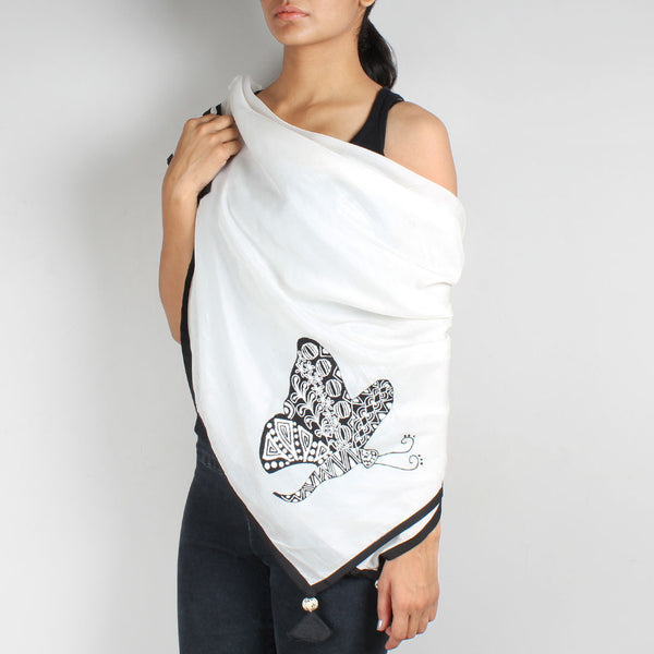 White Butterfly Embroidered Cotton Silk Scarf