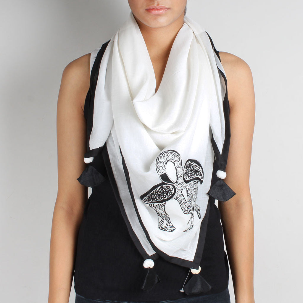 White Flamingo Embroidered Cotton Silk Scarf by Desi Polka