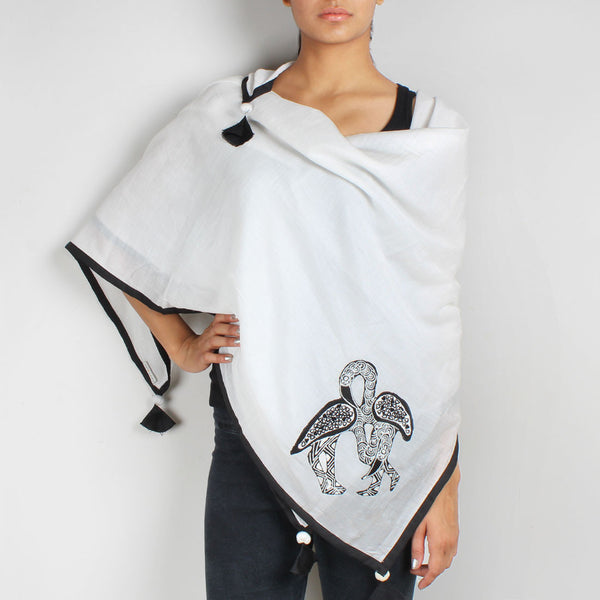 White Flamingo Embroidered Cotton Silk Scarf