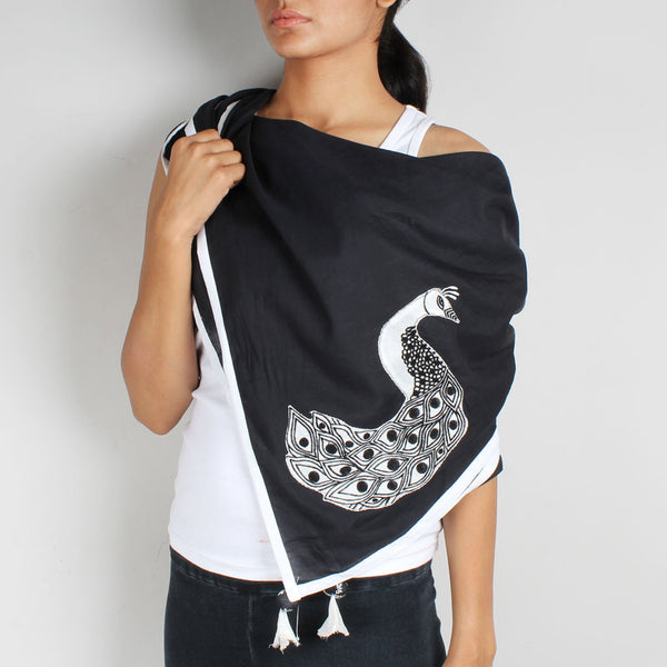 Black Peacock Embroidered Scarf