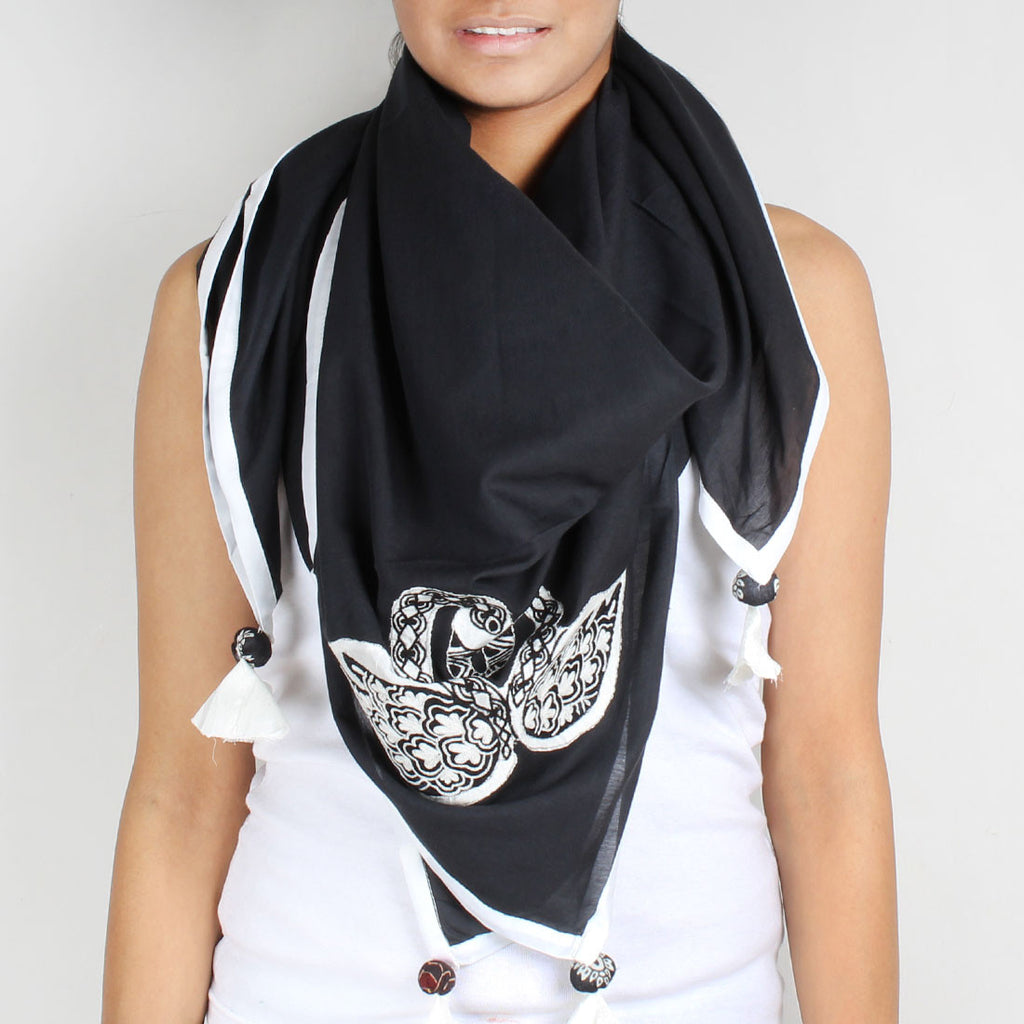 Black Swan Embroidered Cotton Silk Scarf by Desi Polka