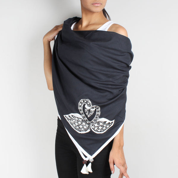 Black Swan Embroidered Cotton Silk Scarf