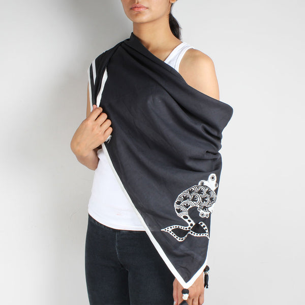 Black Fish Embroidered Cotton Silk Scarf