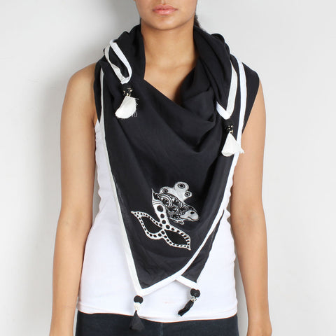 Black Fish Embroidered Cotton Silk Scarf by Desi Polka