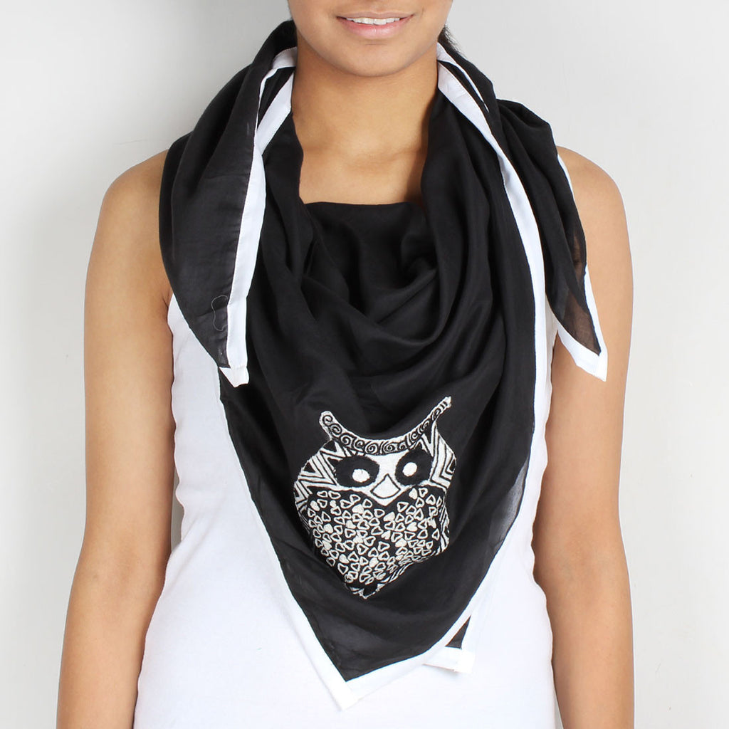 Black Owl Cotton Silk Scarf by Desi Polka