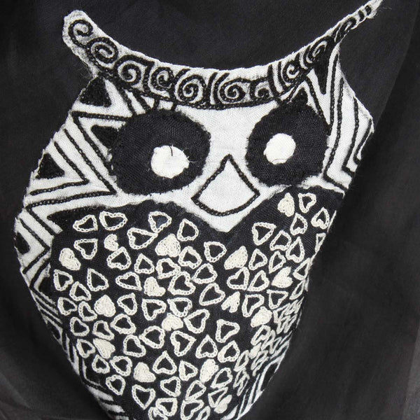 Black Owl Cotton Silk Scarf