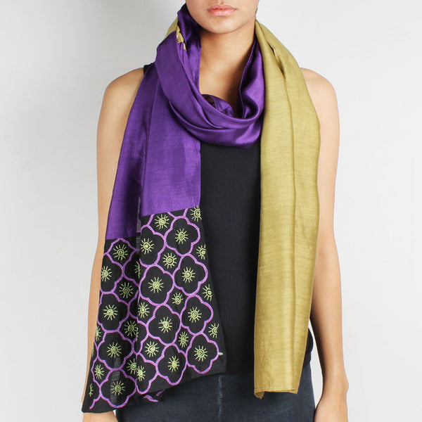 Purple & Green Color Block Embroidered Silk Stole